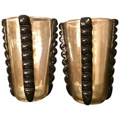Pair of Gold and Black Signed Costantini Murano Glass Vases