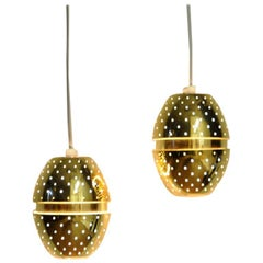 Pair of Egg Shaped Brass Window Lamps Florina T790, Hans-Agne Jacobson, Sweden