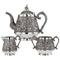 Antique 19th Century Indian Tea Set, P. Orr Manner, Madras, circa 1880