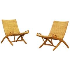 Pair of Folding Lounge Chairs by Hans J. Wegner for Johannes Hansen