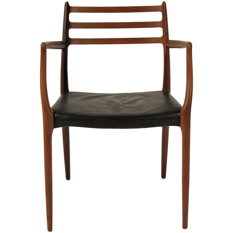 1960s Niels Moller Model 62 Armchair in Teak and Black Leather by J.L Mollers