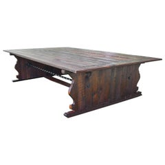 Bonnin Ashley Custom Made Rugged and Weathered Trestle Base Table Seats 16