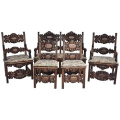 19th Century Carved Oak Lounge Suite