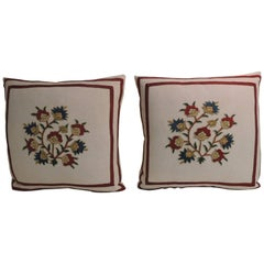 Pair of 19th Century Pink and Red Turkish Embroidery Decorative Pillows