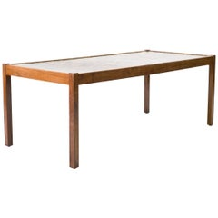 Scandinavian Modern Rosewood Table with Cast Pebbles