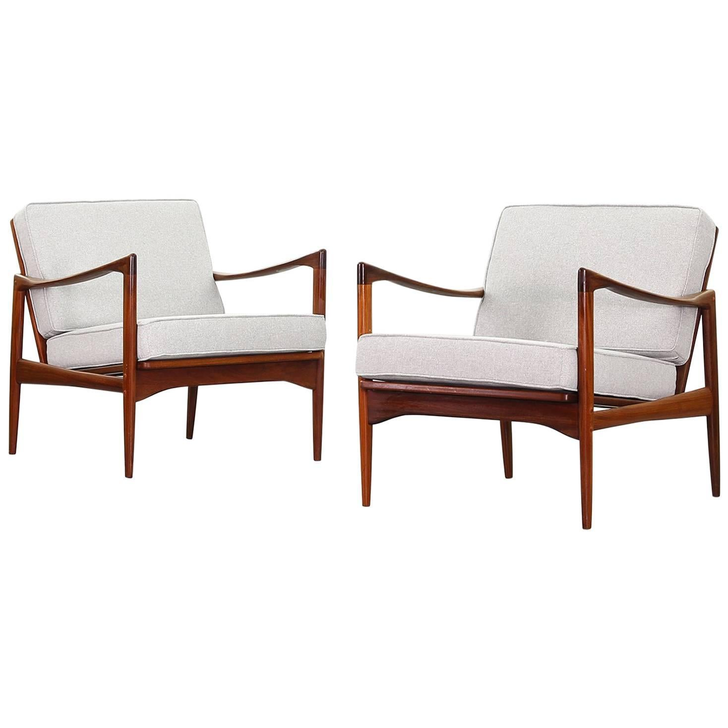 Pair Of Lounge Chairs By Ib Kofod Larsen For OPE, Newly Reupholstered