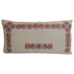 19th Century Greek Isle Red and White Embroidery Decorative Bolster Pillow