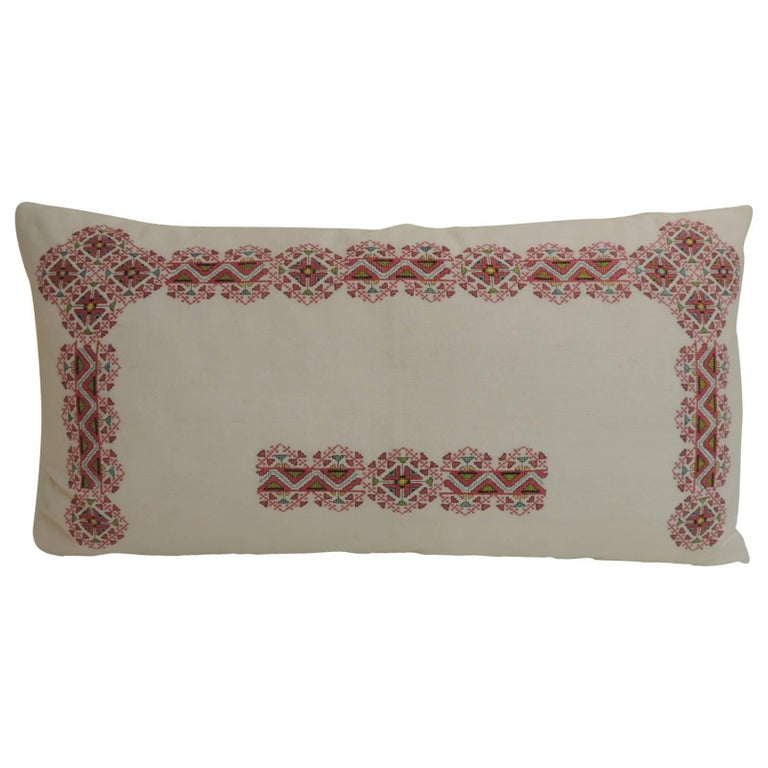 19th Century Greek Isle Red and White Embroidery Decorative Bolster Pillow For Sale at 1stdibs