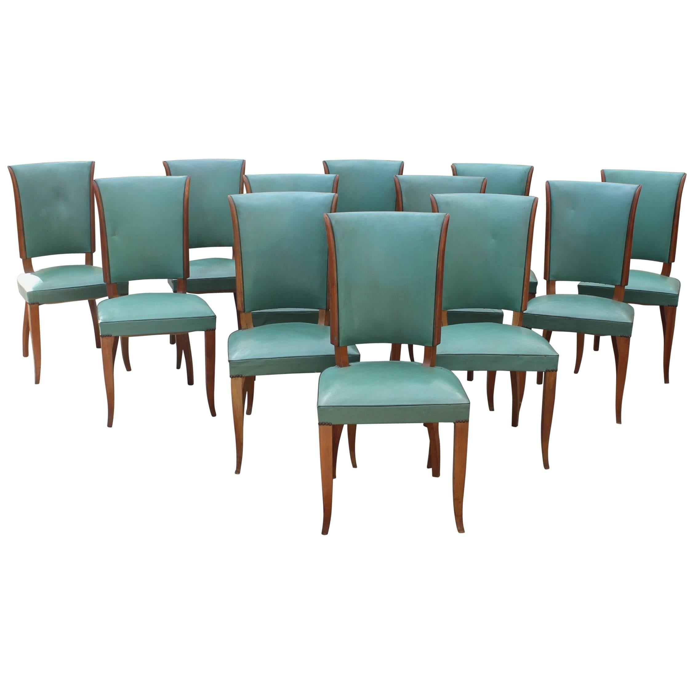 Stunning Set Of Twelve French Art Deco Dining Chairs Attributed To Jules  Leleu