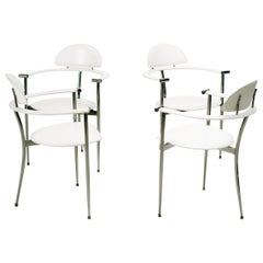 Set of Four White Leather Arrben Stiletto Chairs