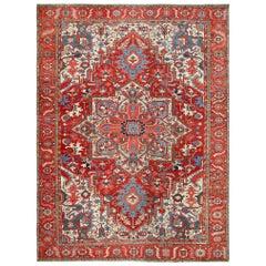 Large Antique Heriz Serapi Persian Rug