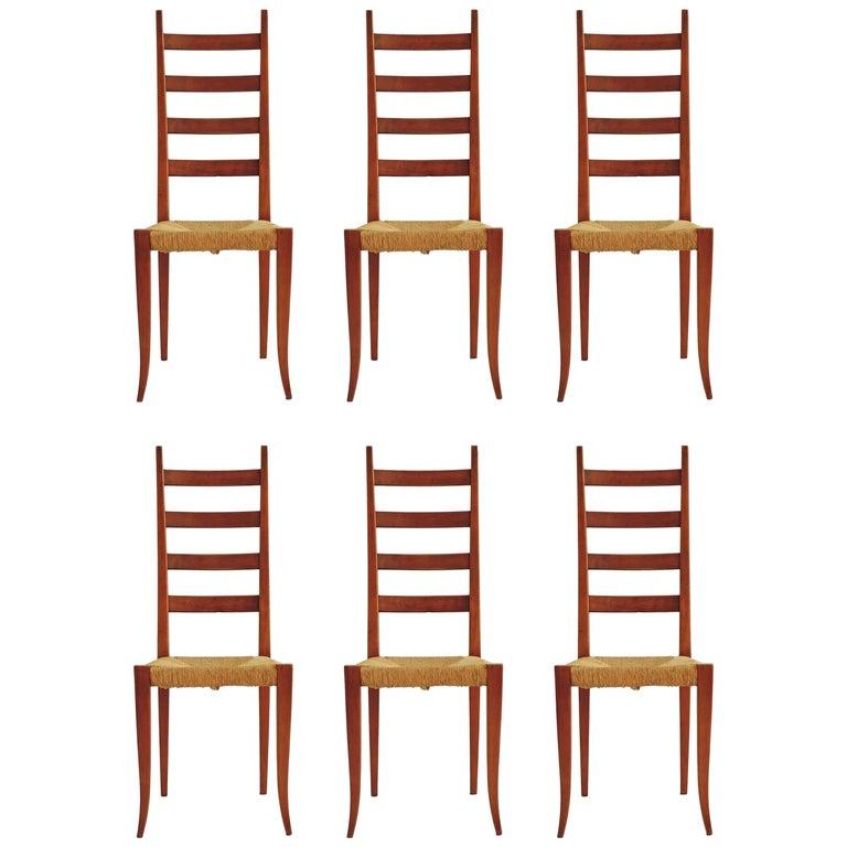 Splendid Set of Six Italian 1950s Highback Chairs