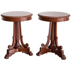Pair of Antique Anglo-Indian or British Colonial Mahogany Side Tables