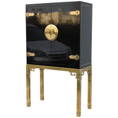 Mastercraft Brass & Lacquered Bar Cabinet