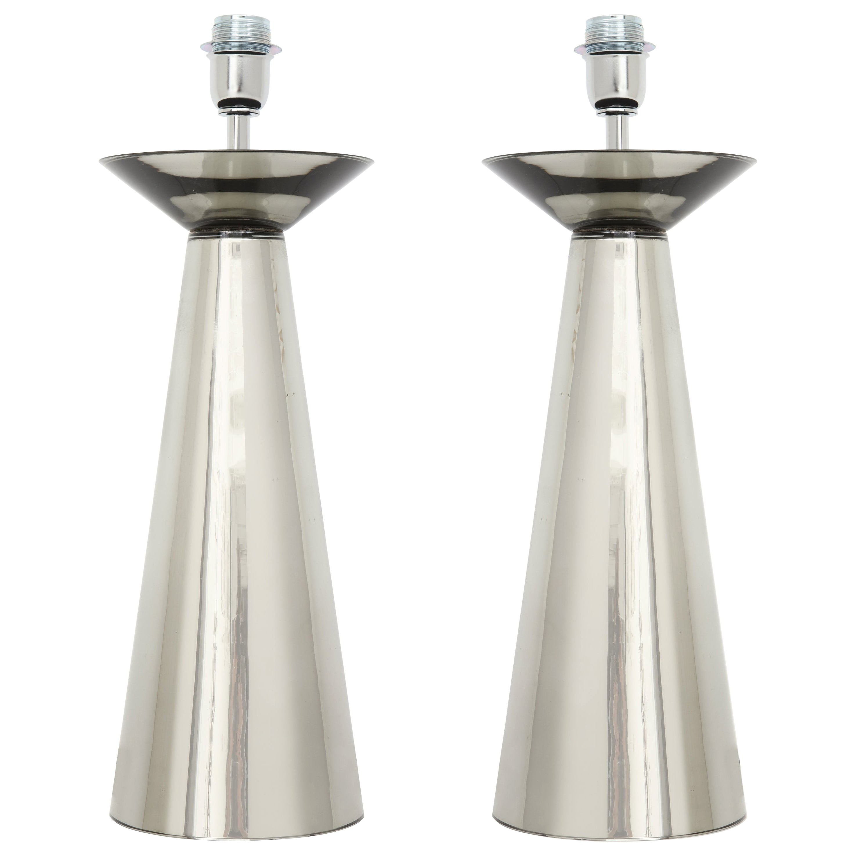 Pair of Modernist Silver Mercury Murano Glass Lamps, Italy, Signed