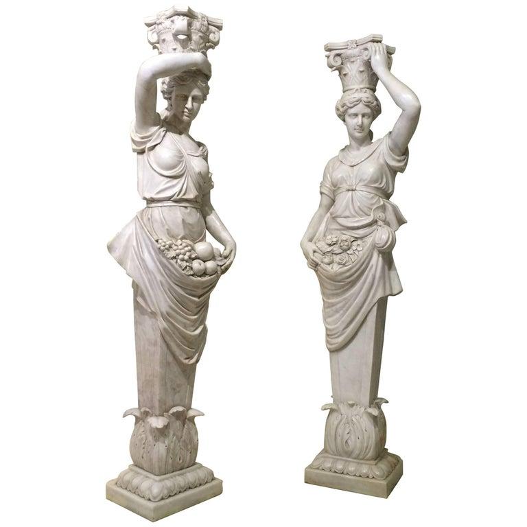 19th Marble Pair of Sculptures of Caryatids Italian