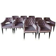 Set, 10 Dining Armchair, Tufted Velvet, Midcentury Style, Luxury Details,must go