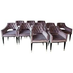 Set of Ten Dining Armchair, Tufted Velvet, Midcentury Style, Luxury Details