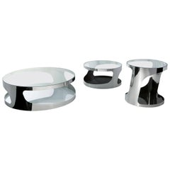 Gallotti and Radice Tab Coffee and Side Tables in Glass and Metal