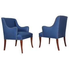 1960s Blue Leather Lounge Chairs