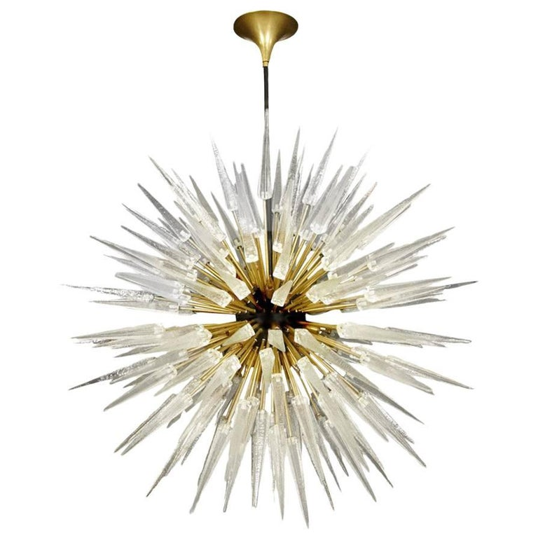 Sputnik Shard Chandelier Murano Glass and Brass Manufactured in Italy