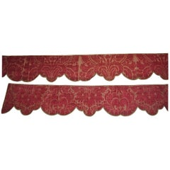 Pair of Silk Damask Scalloped Edged Pelmets French 18th century