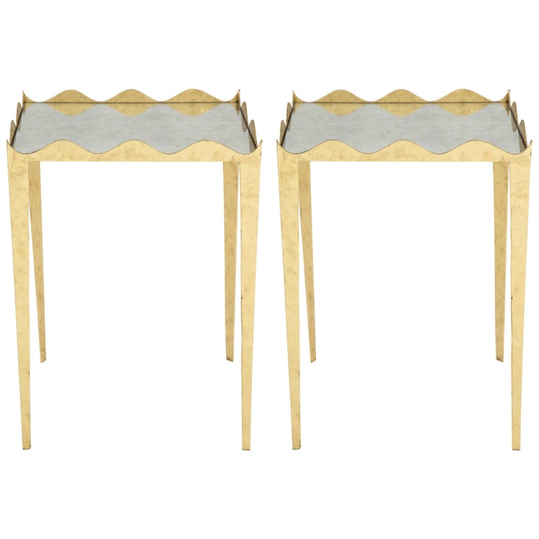 Elegant Pair of Gilded Scalloped Metal Side Tables with Mirrored Tops