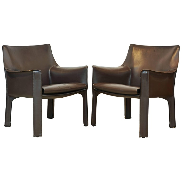 Pair of Mario Bellini Design Leather Cab Lounge Chairs by Cassina, Italy For Sale