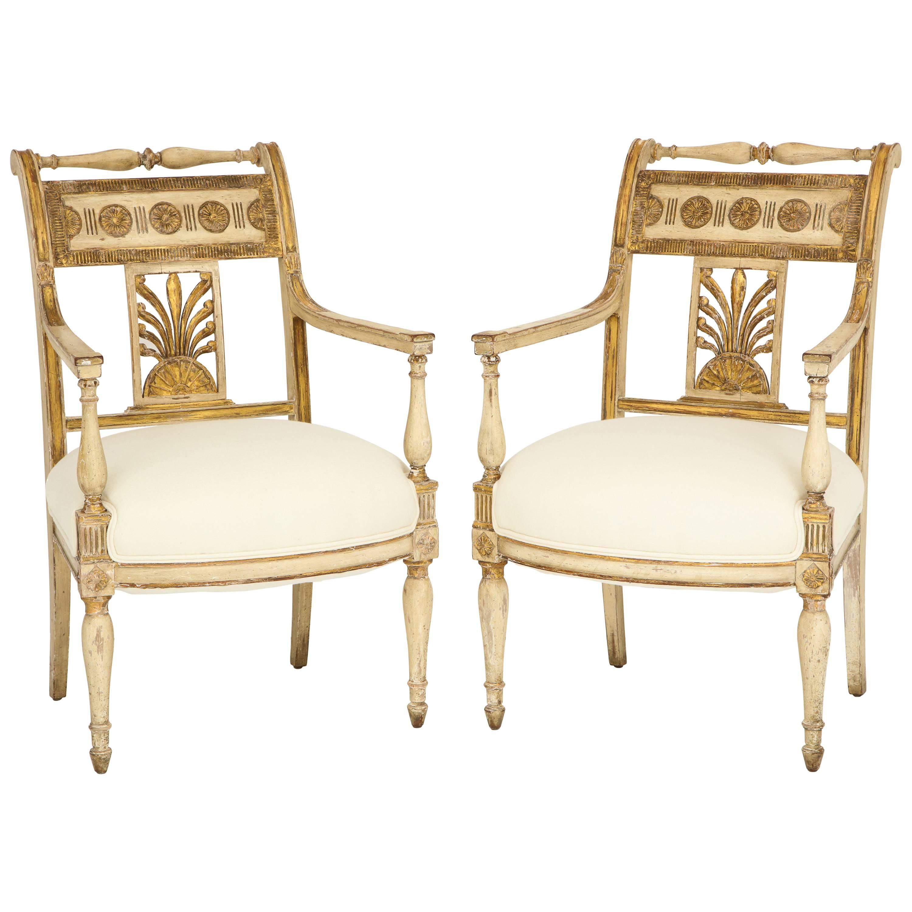 Pair of Italian Painted and Gilded Empire Period Armchairs