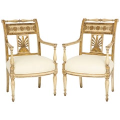 Pair of Italian Painted and Parcel Gilded Empire Period Armchairs