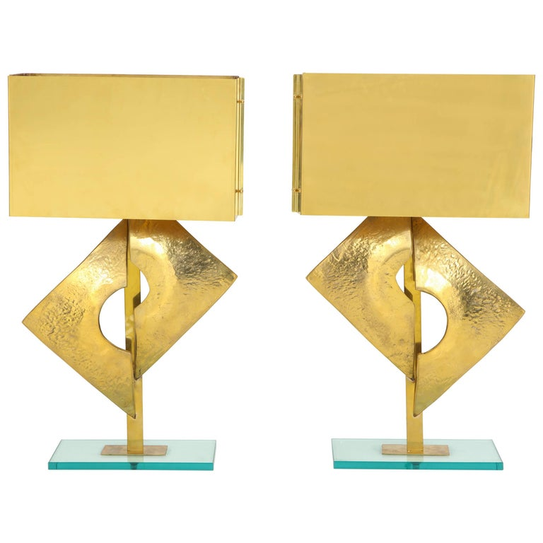 Exquisite Pair of Large Italian All Brass Sculptural Lamps For Sale