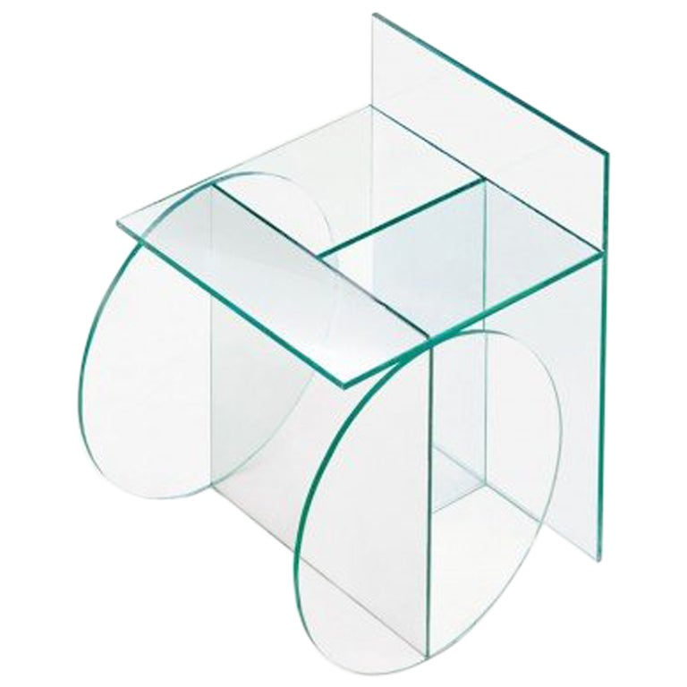 Guillermo Santomá Contemporary Glass Chair With Wheels Model 2, Barcelona, 2016