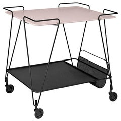 Midcentury Mathieu Matégot Metal Trolley with Two Trays
