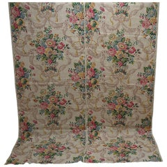 English Pair Linen Panels Printedwith Flowers and Swagged Tassels, circa 1920s