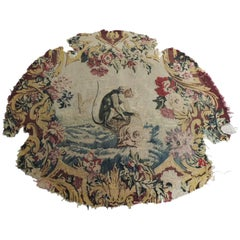 19th Century Aubusson Tapestry Chair Seat Cover Depicting a Monkey