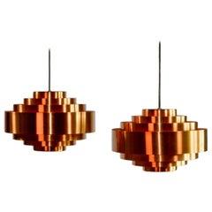 Pair of Midcentury Copper Pendants by Jo Hammerborg for Fog & Mørup, 1960s