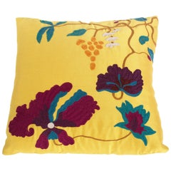 Silk Wool Sateen Embroidered Floral Decorative Pillow