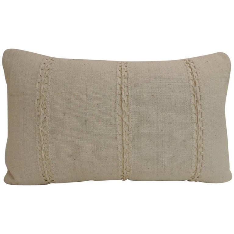 Vintage Decorative Pillow : Antique French Linen Lumbar Decorative Pillow For Sale at 1stdibs