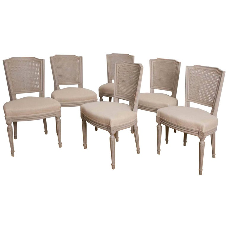 19th Century French Set of Dining Chairs with Cane Backs, circa 1870
