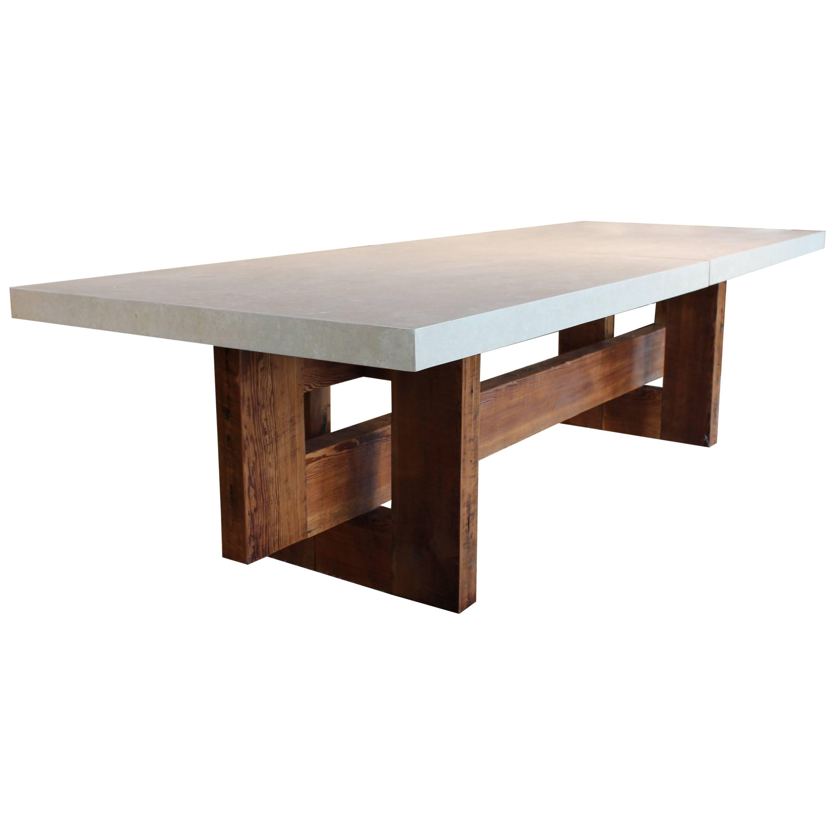 Architectural Dining Table With Reclaimed Pine Beams U0026 Two Section Limestone  Top