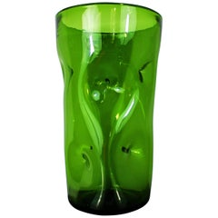 Large 1970s Vintage Green Blown Crystal Vase