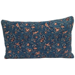 Early 19th Century French Block-Printed Indigo Resist with Red Birds Pillow