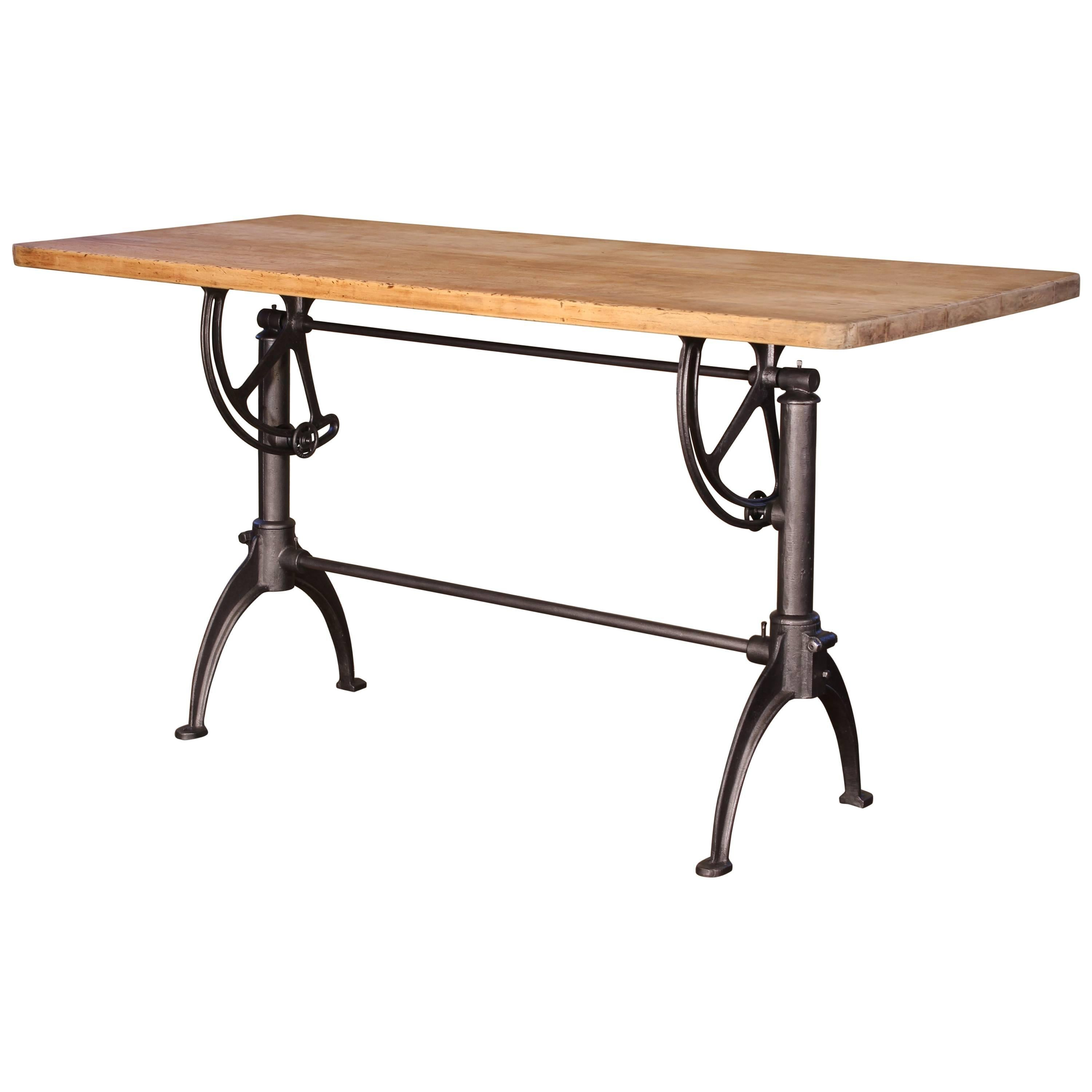 Cast Iron And Maple Vintage Adjustable Drafting Table For Sale