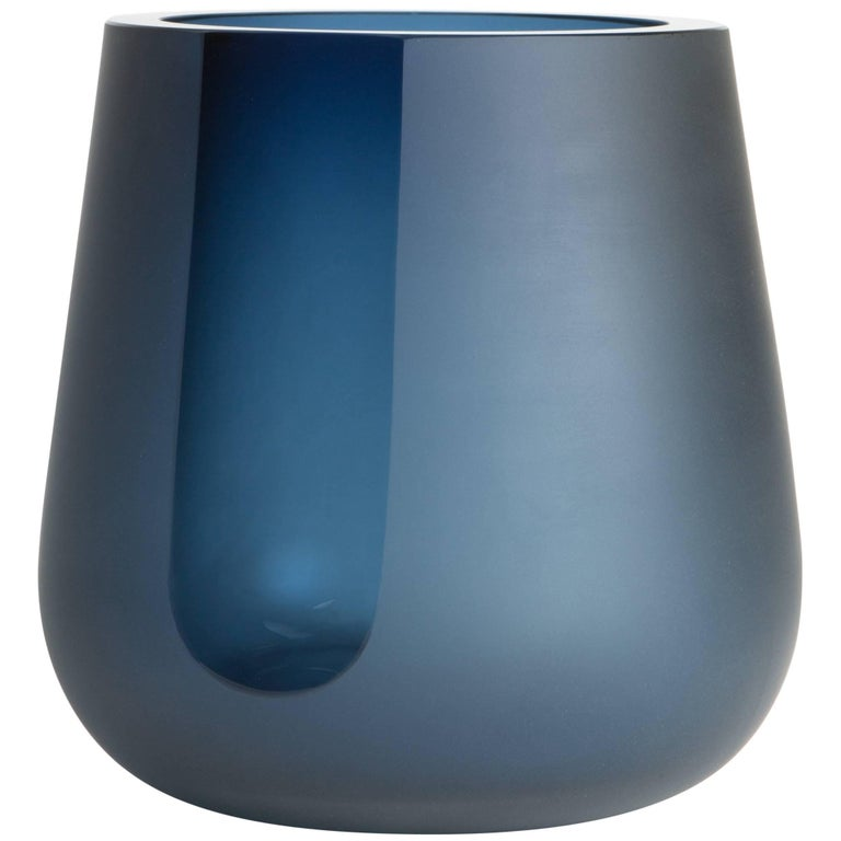 Handblown Dark Steel Blue Glass Porto Ice Bucket, Andrew Hughes