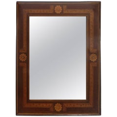 Antique Marquetry Inlaid Mahogany Mirror