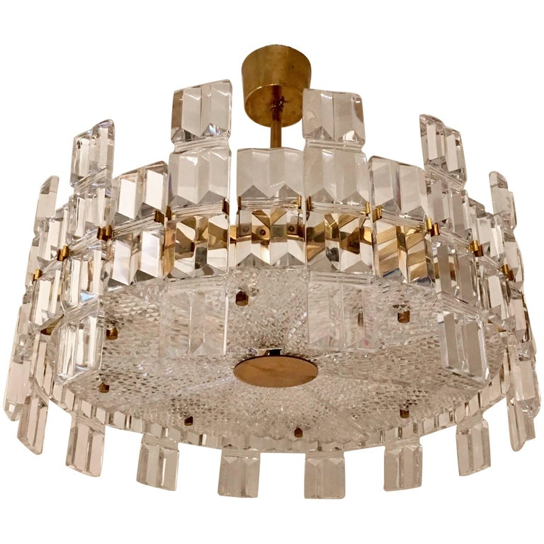 Orrefors Crystal 1950s Swedish Midcentury Chandelier