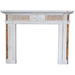 19th Century Georgian Mantel in Statuary Marble with Siena Inlay 'NY-156'