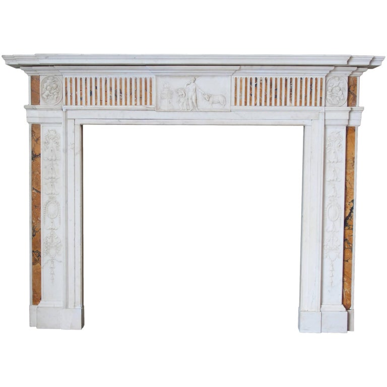19th Century Georgian Mantel in Statuary Marble with Siena Inlay 'NY-156' For Sale
