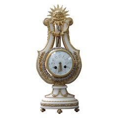 French 19th Century Ormolu and White Marble Louis XVI Style Lyre Clock