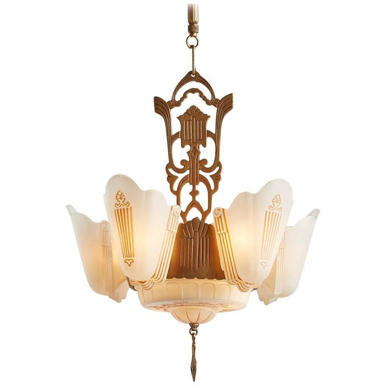 Incredible Five Light Victorian Gas Chandelier Circa